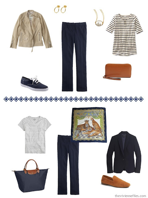two ways to wear navy dress pants, from a travel capsule wardrobe in navy, grey and camel