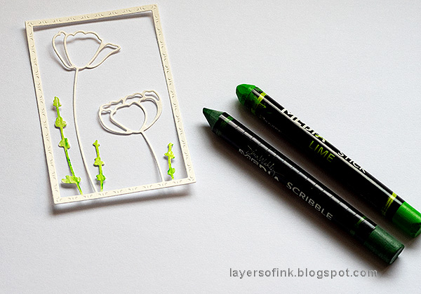 Layers of ink - Poppy Card Tutorial by Anna-Karin Evaldsson. Color the grass.
