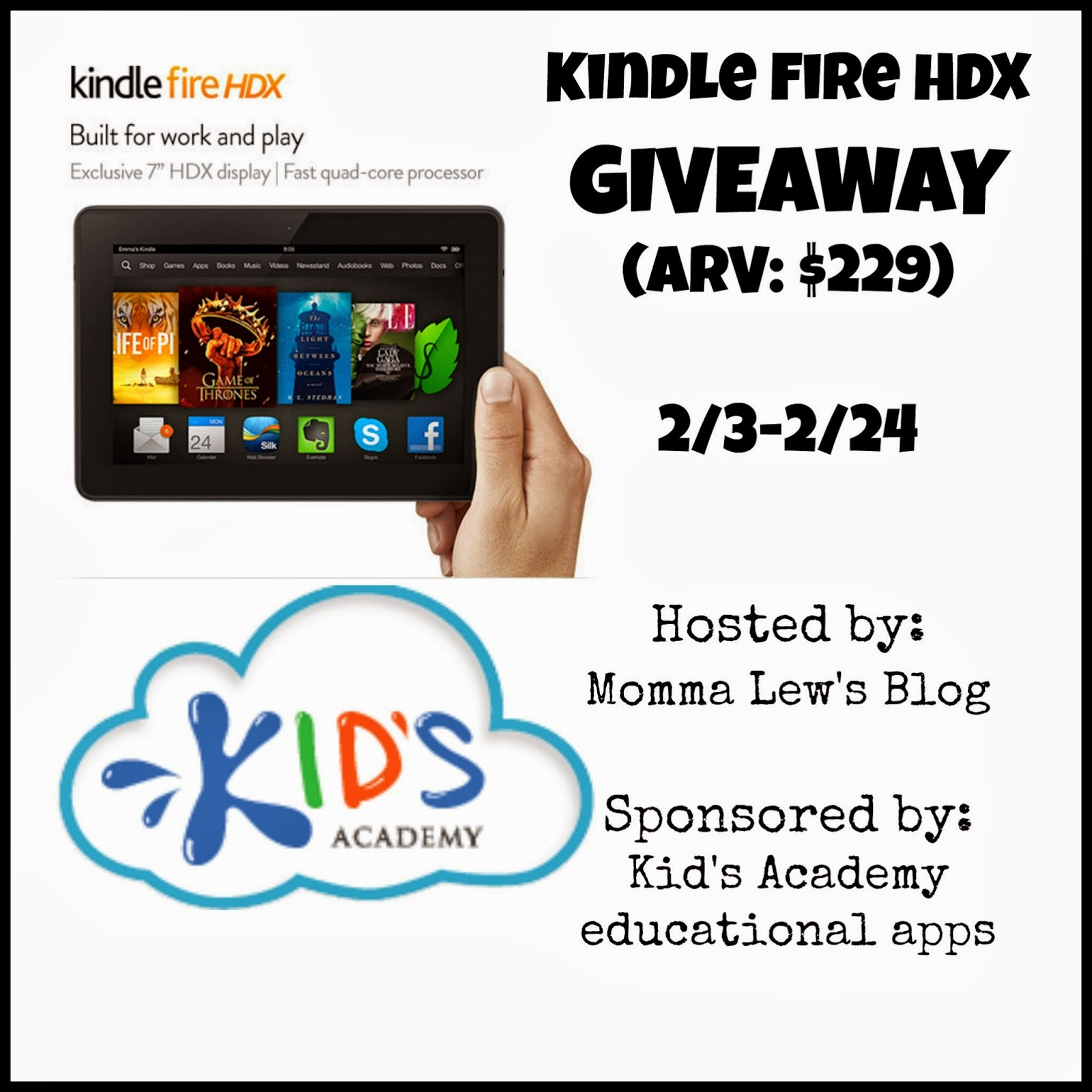 Sign up for the Kindle Fire HDX Giveaway. Event starts 2/3.