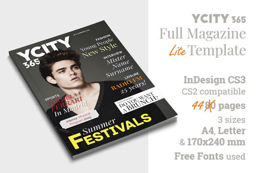 YCity365, InDesign Lite Template for Magazine (Cover and Features)