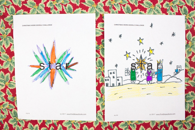 Christmas Word Doodle Art Challenges Free Printable Included