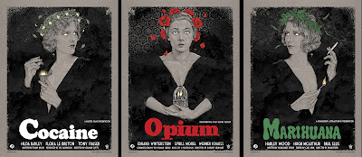 Vices Screen Print Triptych by Timothy Pittides x Grey Matter Art – Opium, Cocaine & Marihuana
