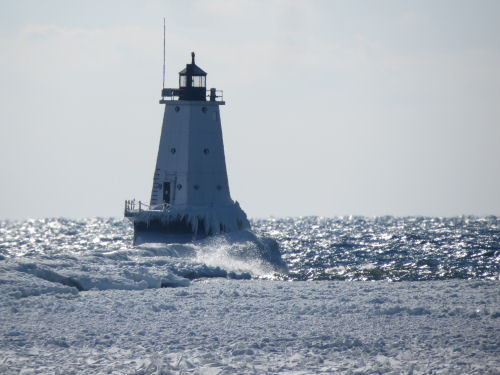 Ludington Michigan lighthouse in winter