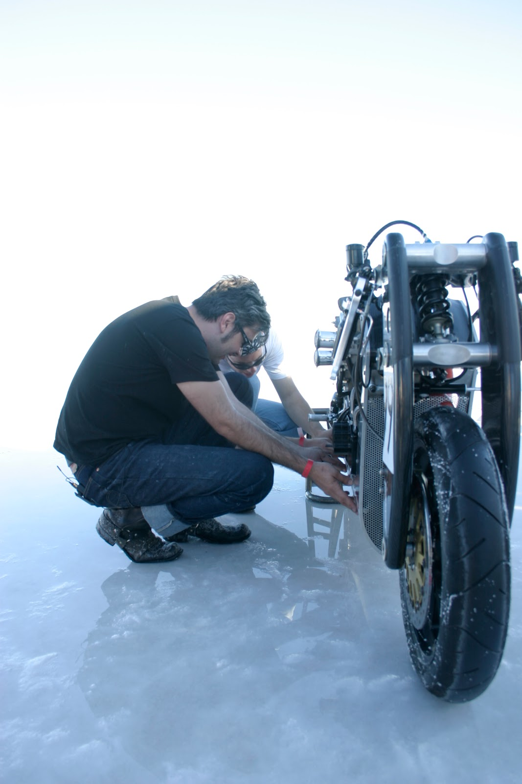 JT Nesbitt working on the Wraith XP-1 at Bonneville