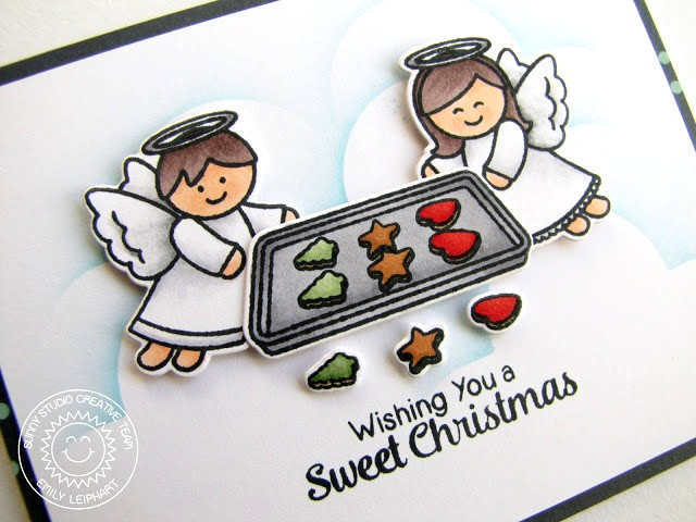 Sunny Studio Stamps: Little Angels & Blissful Baking Sweet Christmas Card by Emily Leiphart.