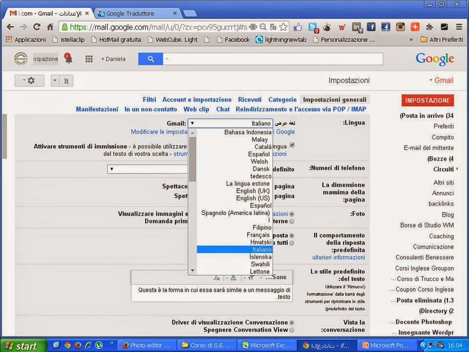 Impostare la lingua Italiano in Gmail dopo che ti è stato sottratto l'account Gmail
