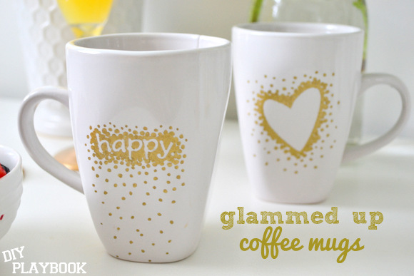 Gold dotted coffee mugs with sharpie