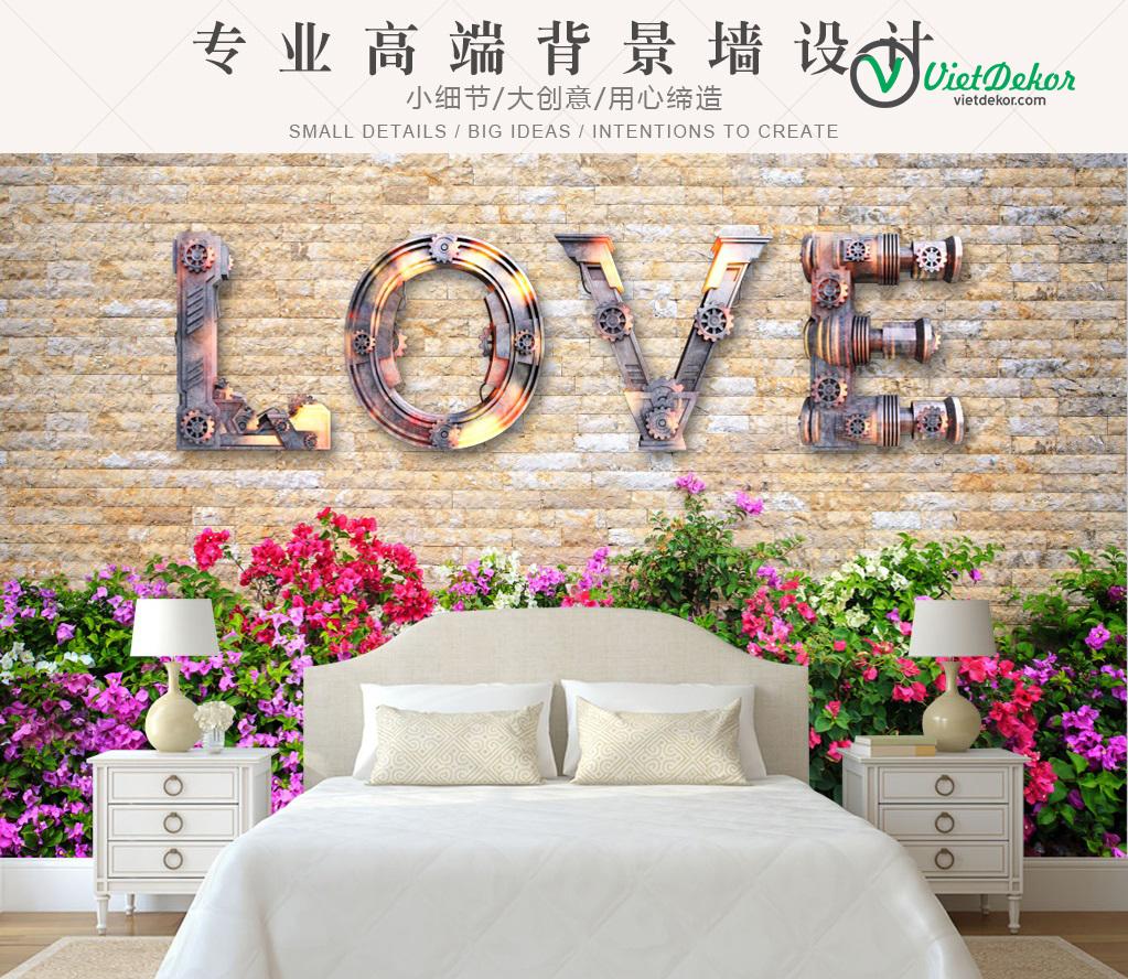 Tranh dán tường 3d phong cảnh trang trí phòng ngủ