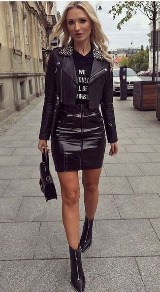 how to wear a leather skirt : moto jacket + printed top + bag + boots