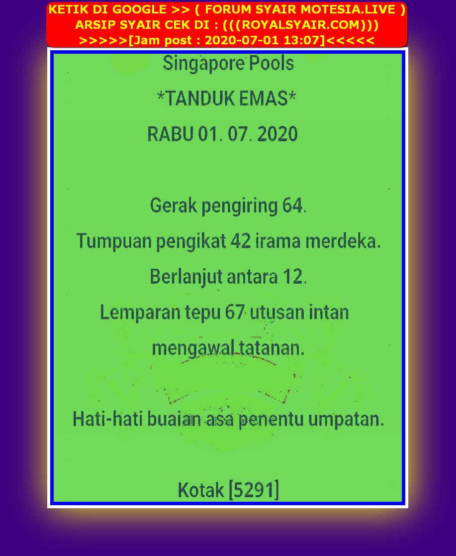 Kode syair Singapore Rabu 1 Juli 2020 30