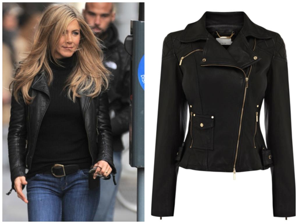 Jennifer aniston black leather jacket