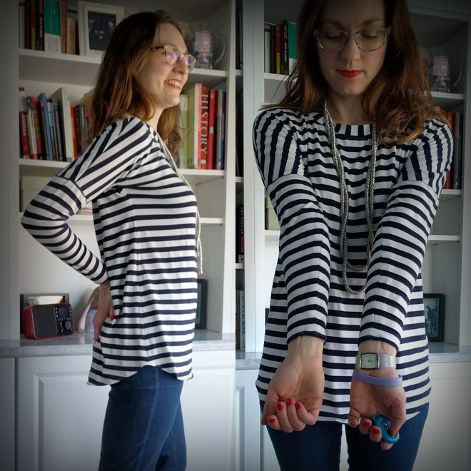 Match stripes on the Sew Over It Molly top like a boss by pinning every stripe.