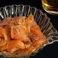 whisky-doused salmon