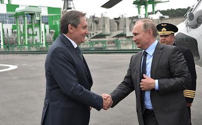 Vladimir Putin arrival at Nizhne-Bureiskaya Hydroelectric Power Plant.