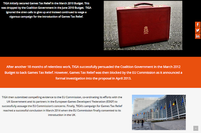 TIGA Games Tax Relief history timeline Coalition Government blocked by EU Commission United Kingdom