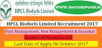 HPCL Biofuels Limited Recruitment 2017– 256 Management, Non Management & Seasonal