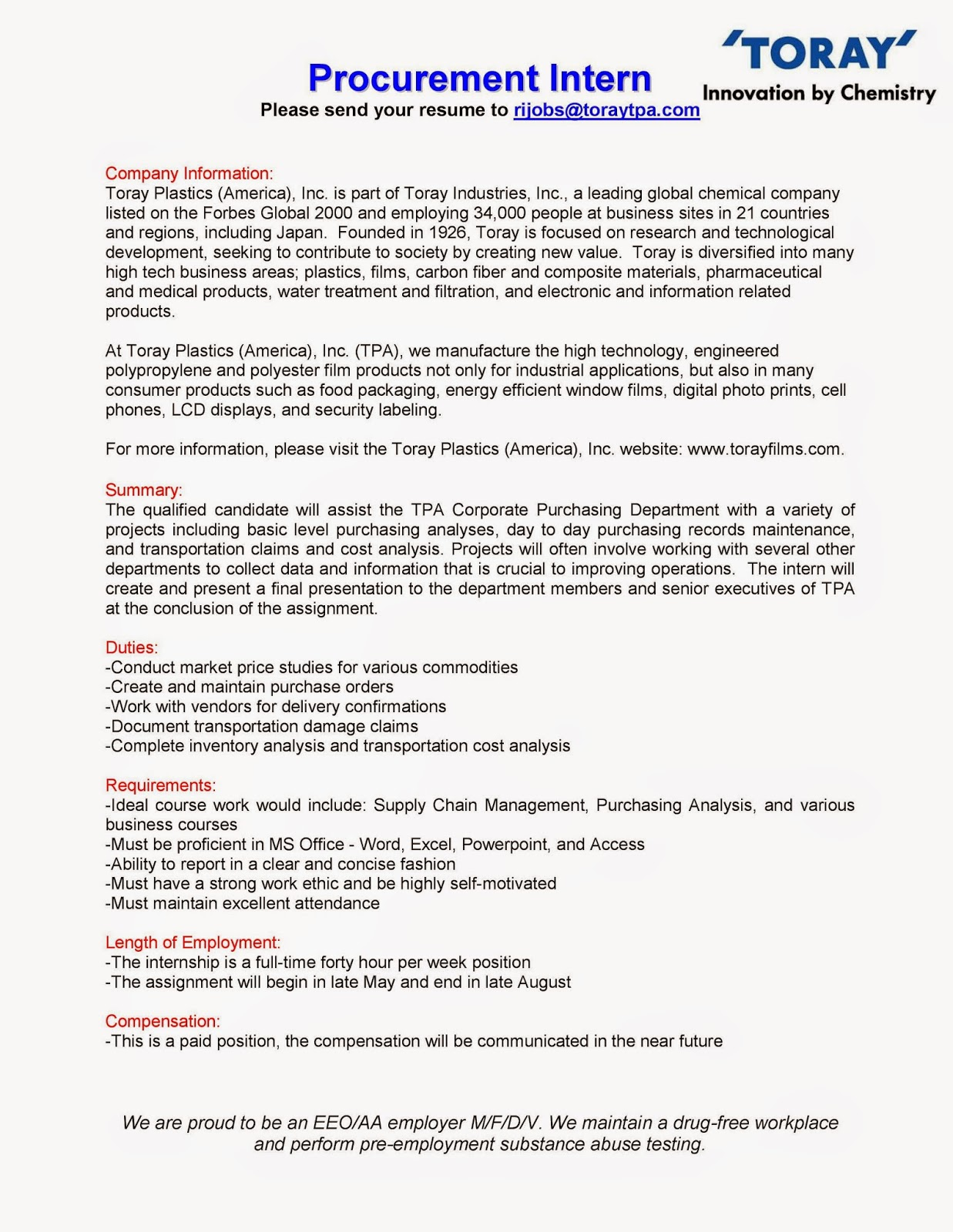 URI CBA Internship/Job Information: Toray Plastics