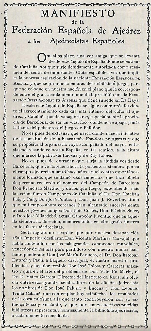 Manifiesto de la Federación Española de Ajedrez a los Ajedrecistas Españoles, abril de 1927, página 1