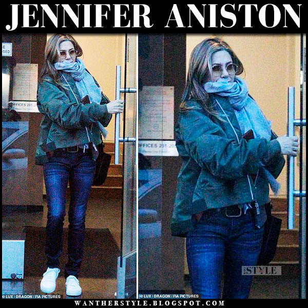 Jennifer Aniston in green jacket, jeans and white sneakers