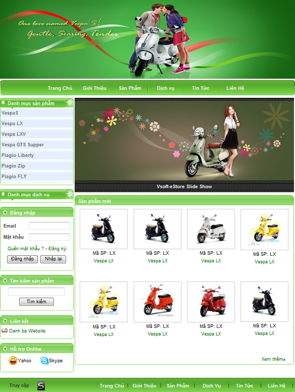 thiết kế website bán hàng xe máy