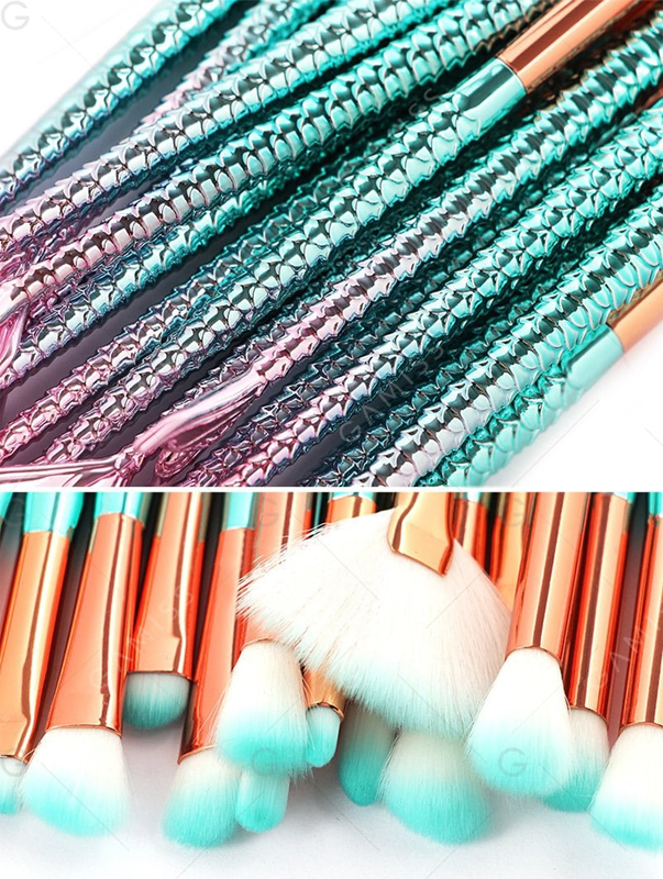 15Pcs Two Tone Mermaid Facial Makeup Brushes - Pinkish Blue