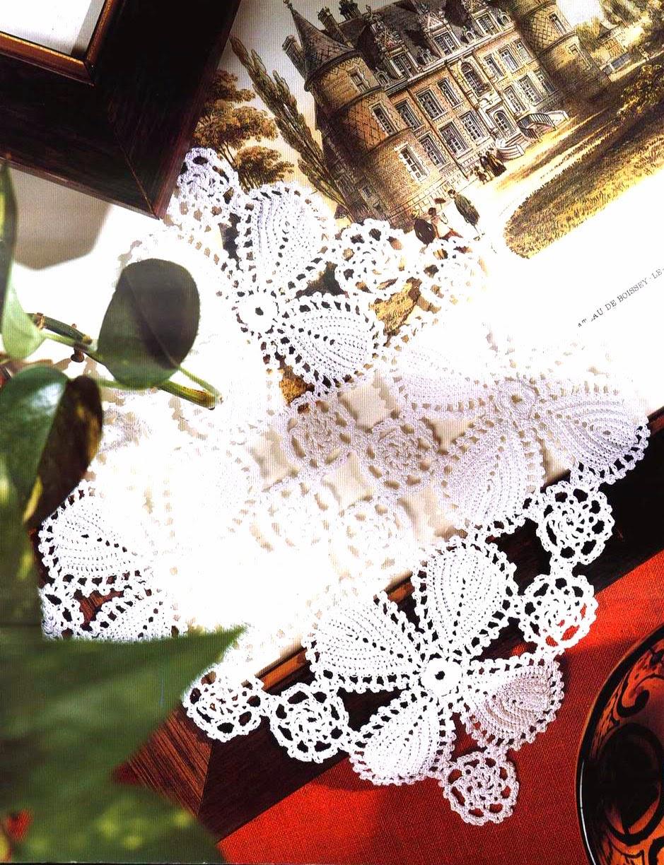 tejidos artesanales en crochet: hojas de encaje irlandes