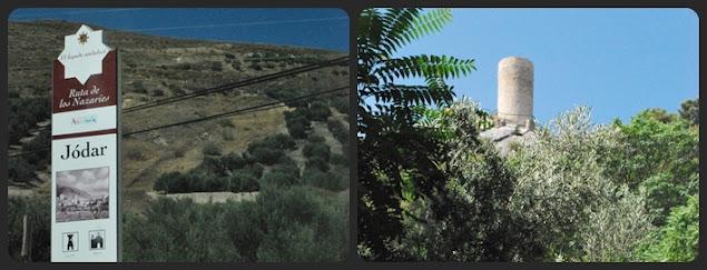Torreón de Cuadros en la ruta del río en sierra Mágina y panel información sobre otra de las rutas que se pueden realiza La de los Nazaries.