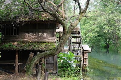 安曇野の大王わさび農場散策 水車小屋と蓼川