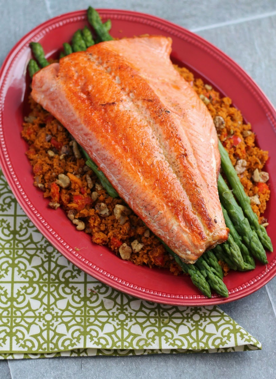 frugal foodie mama pan seared salmon with asparagus sweet potato rice. Black Bedroom Furniture Sets. Home Design Ideas