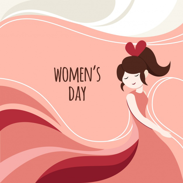 Abstract background with happy girl for women's day Free Vector