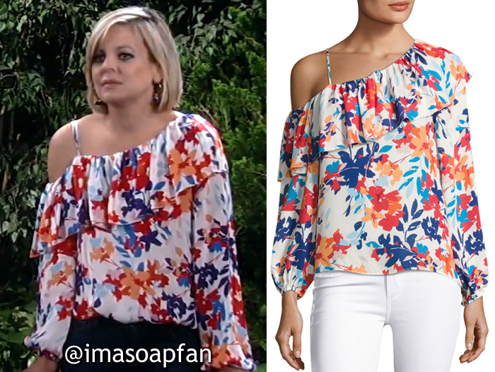 Maxie Jones, Kirsten Storms, One-Shoulder Floral Print Silk Blouse, General Hospital, GH