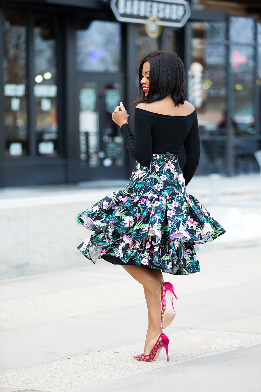 off shoulder top, print high-waist ruffle hem skirt, aquazzura pump, www.jadore-fashion.com