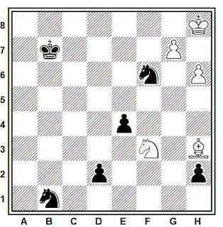Estudio artístico de ajedrez compuesto por David Bronstein (1959)