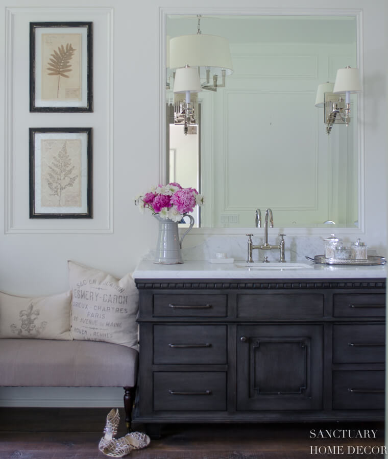 elegant bathroom with gray vanity