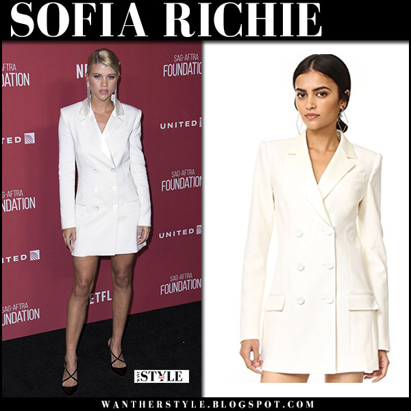 Sofia Richie in white tuxedo mini dress rachel zoe and black pumps francesco russo red carept november 9 2017