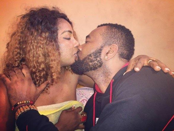 Prince Eke and Anita Joseph lock lips in romantic kiss on movie set