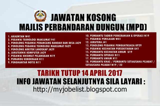 Jawatan Kosong Majlis Perbandaran Dungun (MPD) April 2017