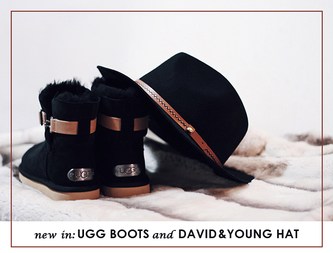 """New In"" by Victoria of thewindofinspiration.com, featuring UGG Women's Aurelyn Boot and David & Young Women's Wool Fet Panama With Suede Band Hat"