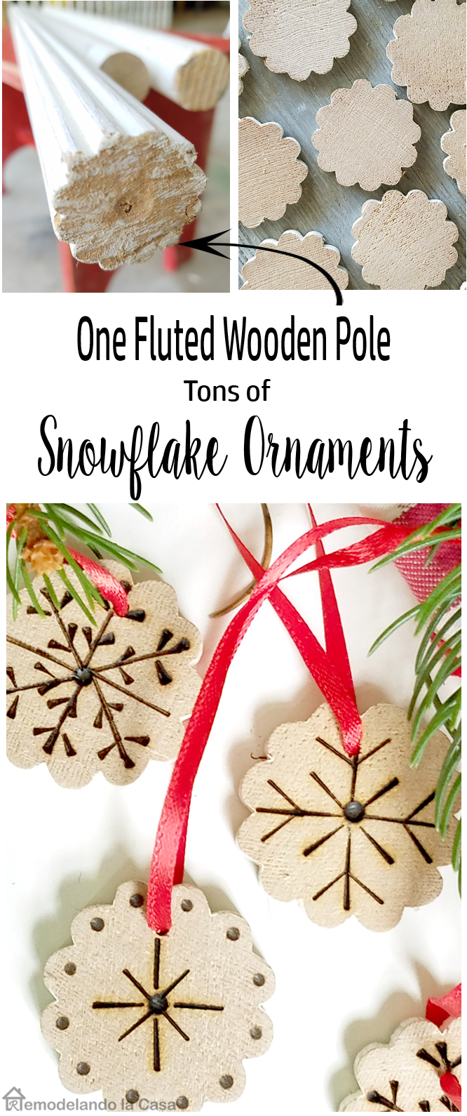 snowflakes, fluted wooden pole, crafts,