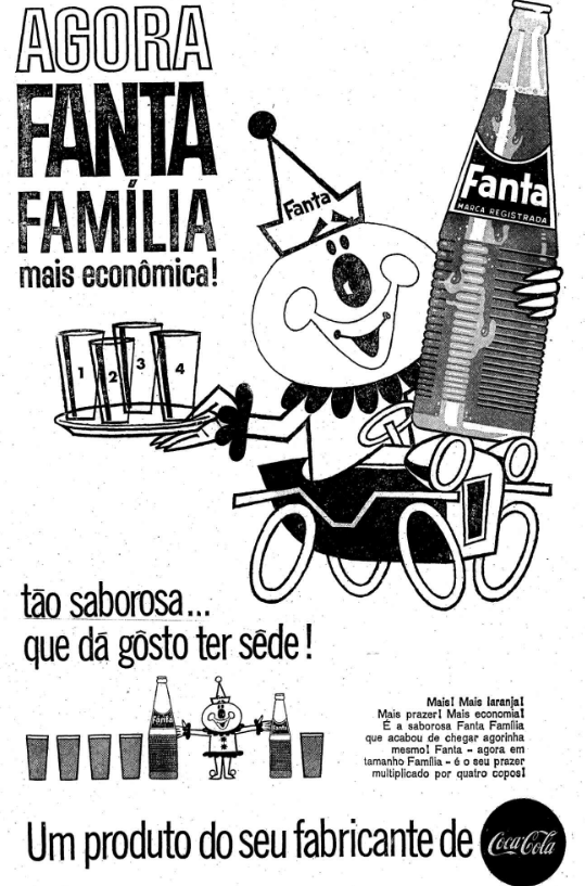 Propaganda antiga do Refrigerante Fanta apresentando o seu tamanho família