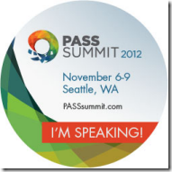 Speaking at PASS Summit 2012