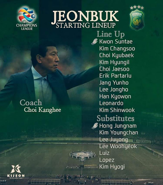 Choi Kang-hee made eight changes to his starting line-up as well as leaving some first team players back in Korea (Photo Credit: Jeonbuk Hyundai Motors Official Facebook Page)