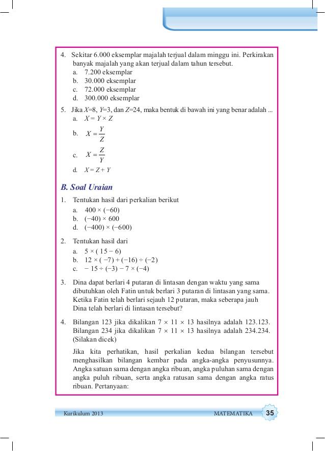 B Soal Uraian Matematika Kelas 7 Hal 107