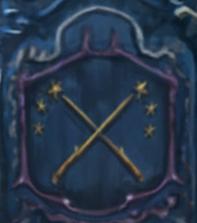 Blasone sulla carrozza di Beauxbatons: due bacchette d'oro incrociate da cui spuntavano tre stelle ciascuna