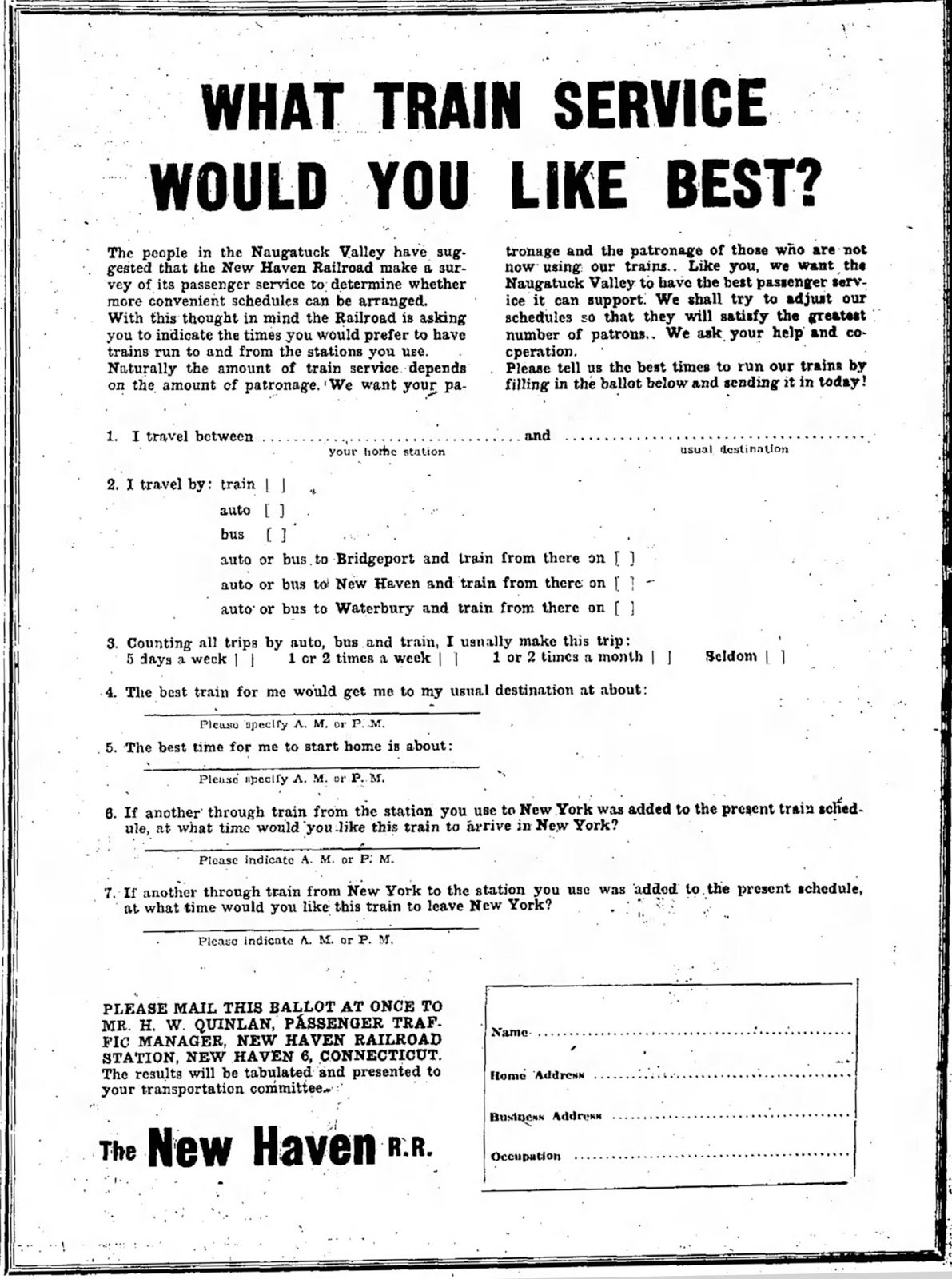 train service survey posted in the naugatuck daily news 23 april 1949