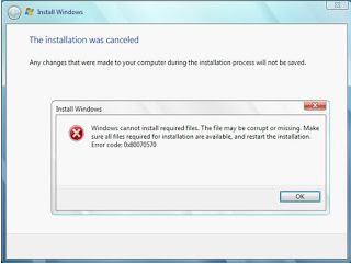 Mengatasi error code 0x80070570