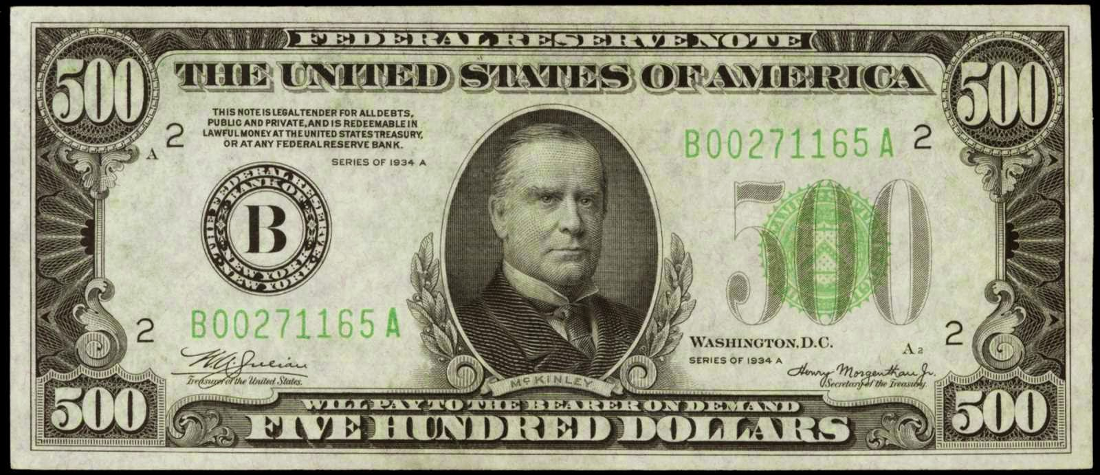 500 Dollar bill Federal Reserve Note McKinley