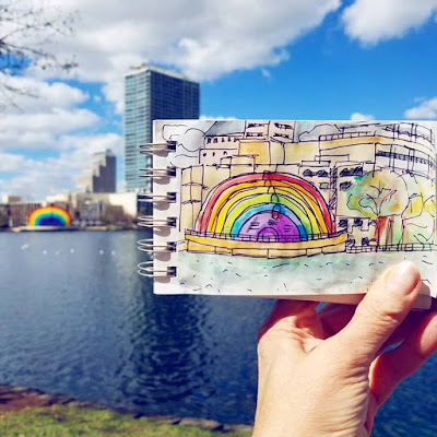 Sketchbook painting in travel journal at Lake Eola in Orlando Florida by Merrill Weber The Good Life of an Artist Blog