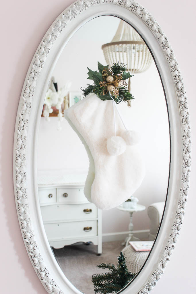 christmas stocking on mirror