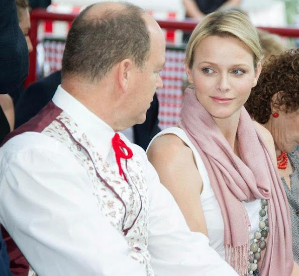 Prince Albert II and Princess Charlene of Monaco were at the Parc Princesse Antoinette in Monaco to attend the 2012 Pique-nique des Monégasques